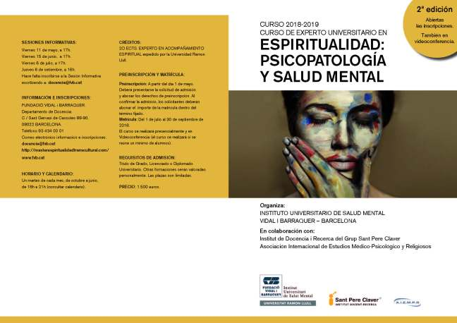 2018-2019. Diptico Espiritualidad Psicopatologia y Salud Mental 1